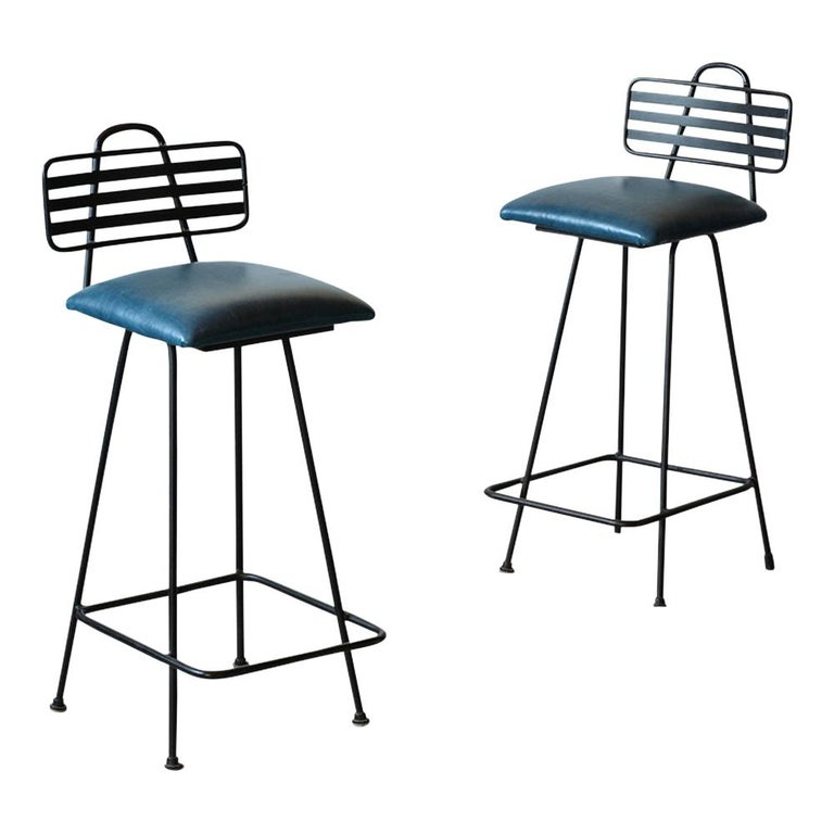 Dyed Set of Leather Bar Stools For Sale