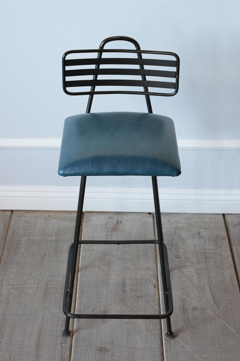 Set of Leather Bar Stools In Good Condition For Sale In Los Angeles, CA