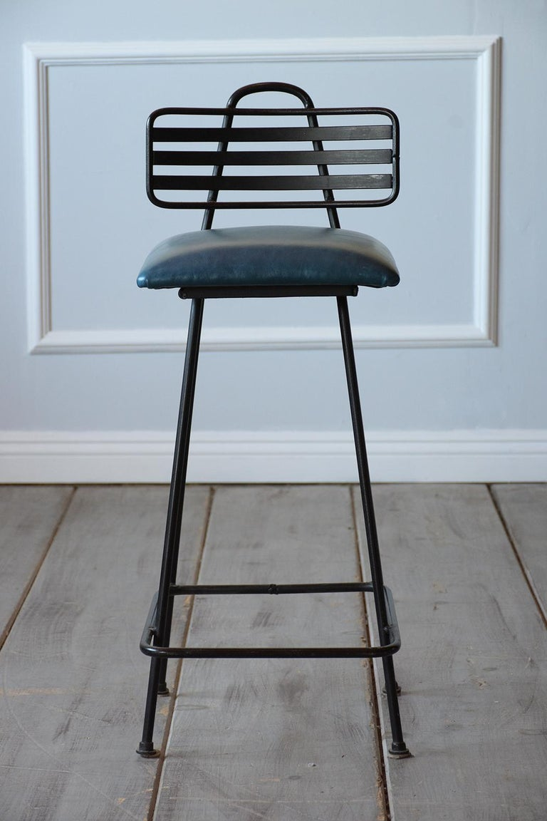 Mid-20th Century Set of Leather Bar Stools For Sale