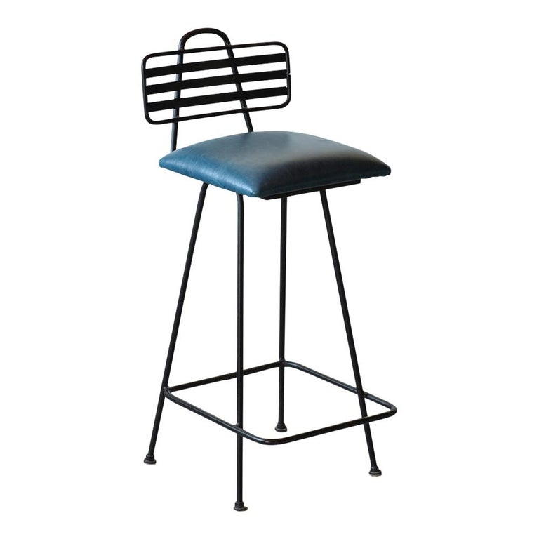 Set of Leather Bar Stools For Sale 1