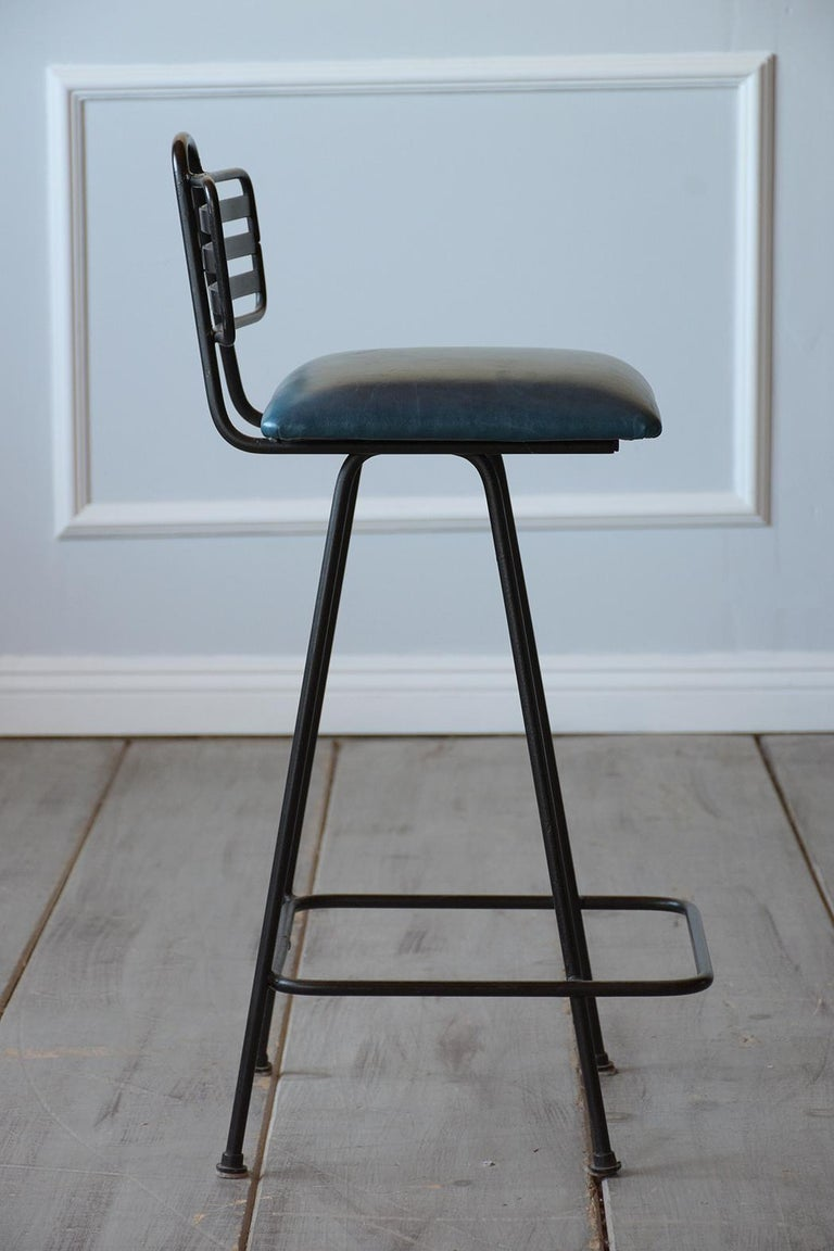 Set of Leather Bar Stools For Sale 2