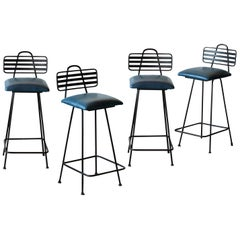 Set of Leather Bar Stools
