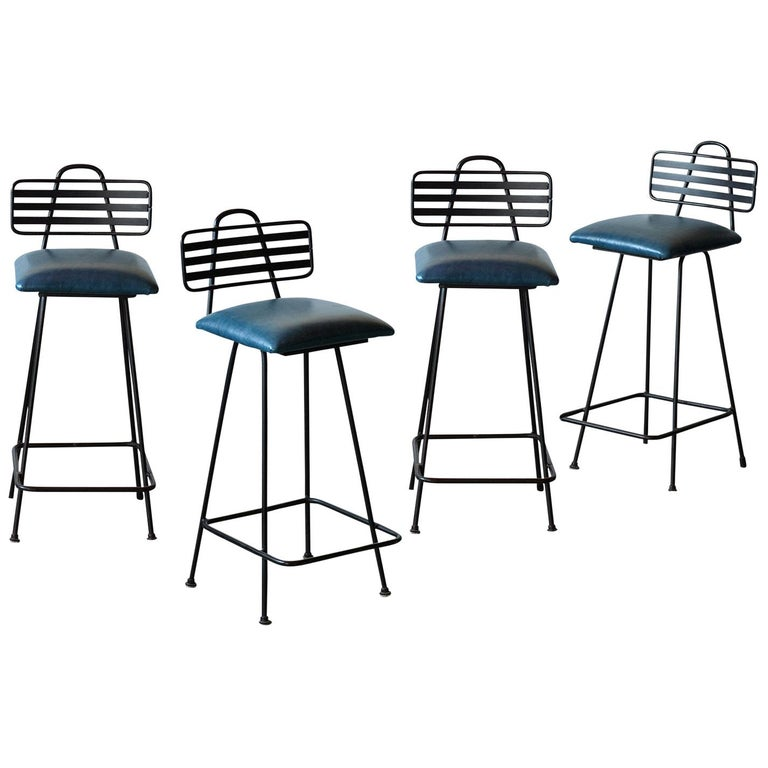 Set of Leather Bar Stools For Sale