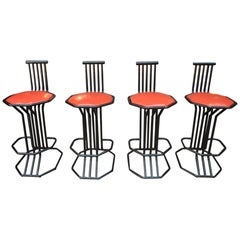 Set of Four Bar Stools in Metal and Faux Leather Seat, circa 1970