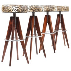 Set of Four Bar Stools in Solid Rosewood