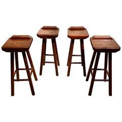 Set of Four Bar Stools in Solid Wengé Wood, 1970s