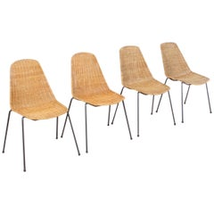 Set of Four Basket Chairs by Gian Franco Legler, Switzerland, 1950s