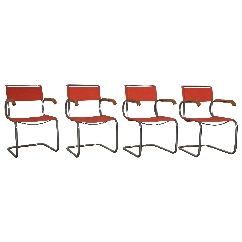 Set of Four Bauhaus Cantilever Armchairs by Marcel Breuer, Model D40, 1928