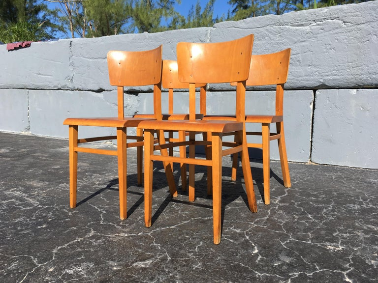 Set of Four Beautiful Bentwood Kitchen Dining Chairs, 1950s In Good Condition In Opa Locka, FL