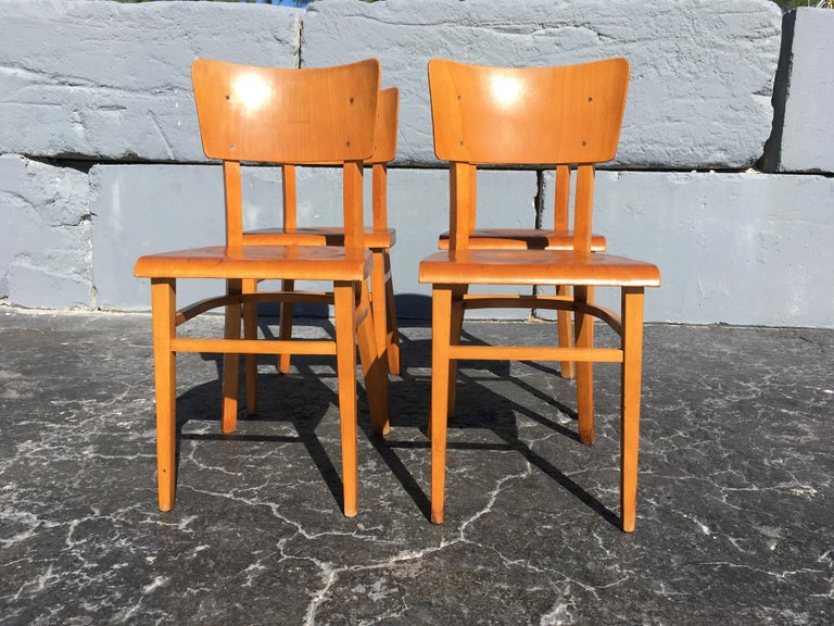 Mid-20th Century Set of Four Beautiful Bentwood Kitchen Dining Chairs, 1950s
