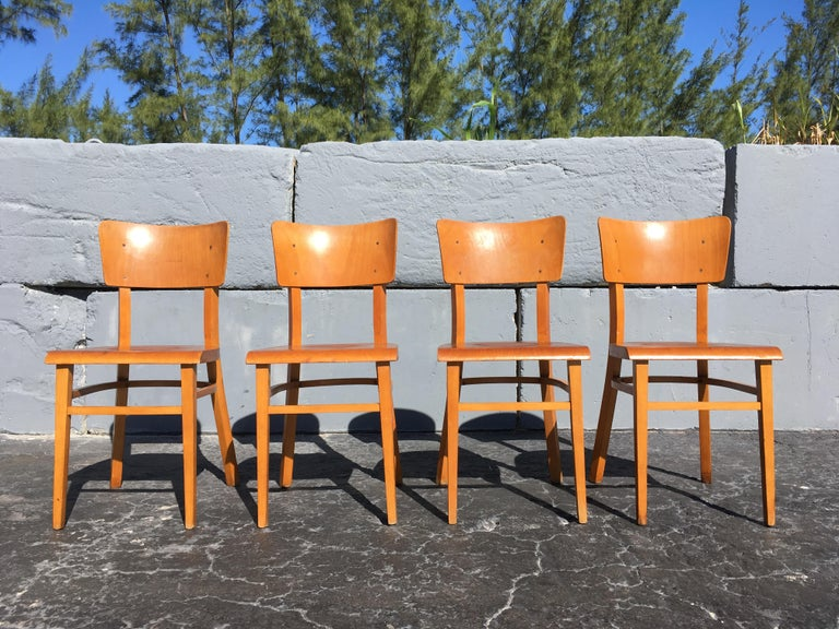 Wood Set of Four Beautiful Bentwood Kitchen Dining Chairs, 1950s
