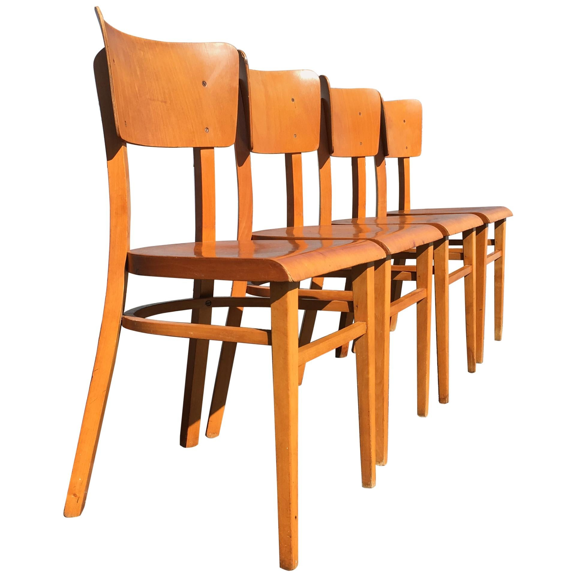 Set of Four Beautiful Bentwood Kitchen Dining Chairs, 1950s