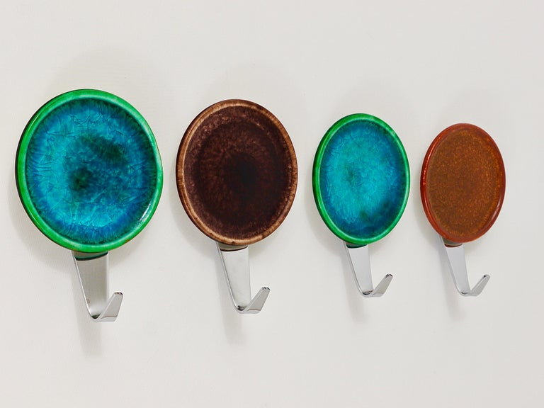 Anodized Set of Four Beautiful Wall Coat Hooks with Enameled Covers, Italy, 1960s For Sale