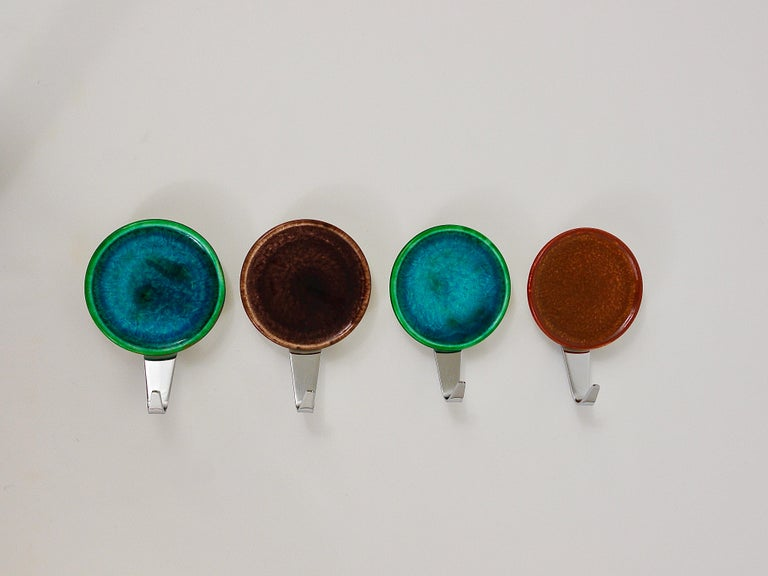 20th Century Set of Four Beautiful Wall Coat Hooks with Enameled Covers, Italy, 1960s For Sale