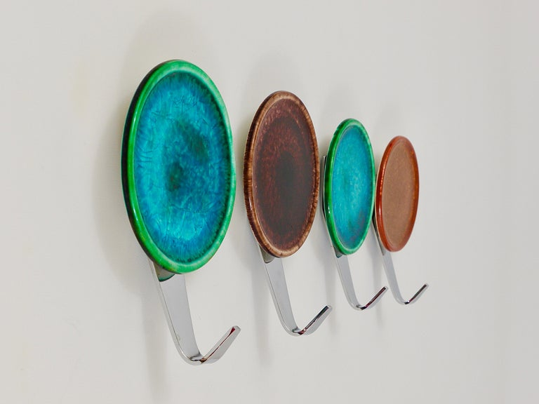 Set of Four Beautiful Wall Coat Hooks with Enameled Covers, Italy, 1960s For Sale 1