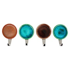Set of Four Beautiful Wall Coat Hooks with Enameled Covers, Italy, 1960s