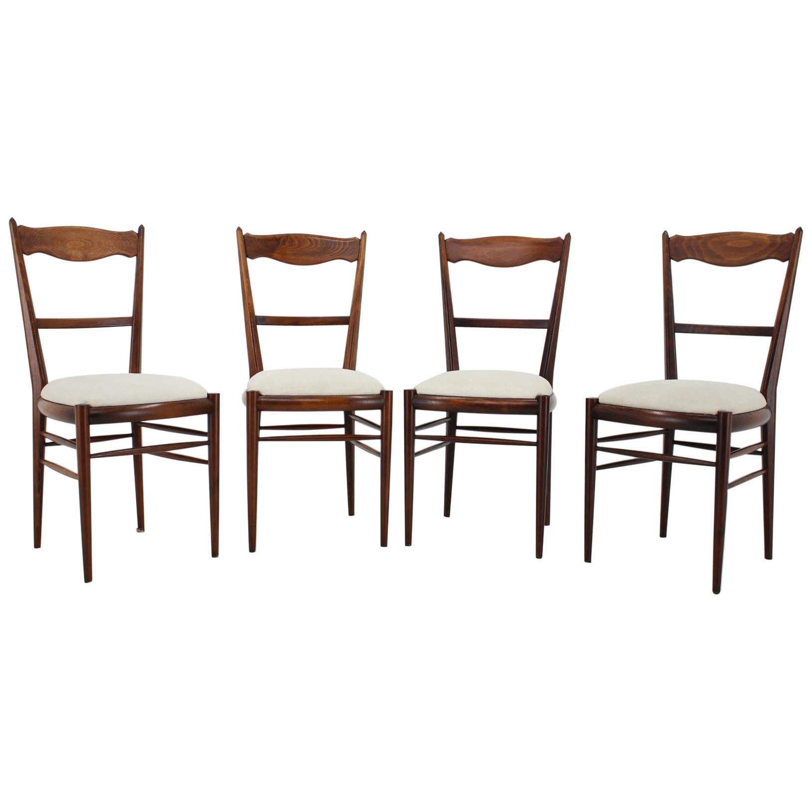 Set of Four Beech Dining Chairs, 1960s