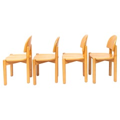 Set of Four Beech Dining Chairs by Rainer Daumiller, Denmark, 1970s