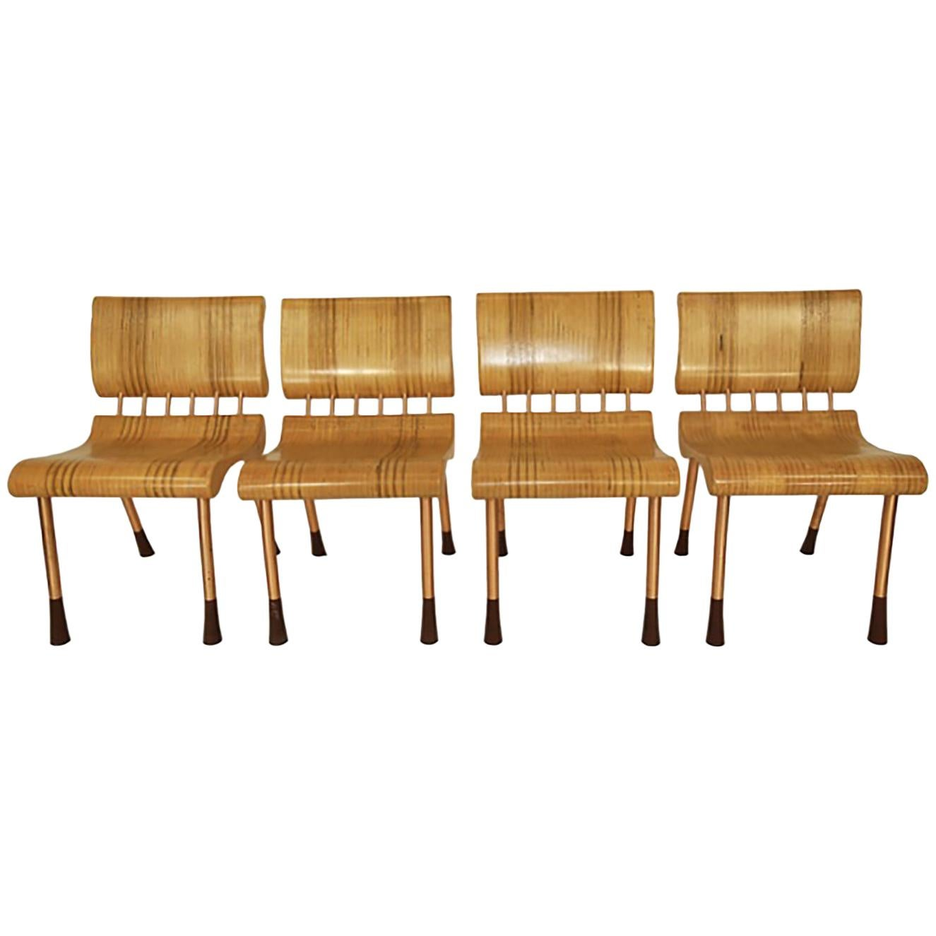 Set of Four Belgian Bentwood Industrial  Dining Chairs
