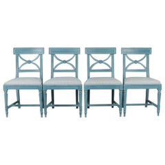 Set of Four Bellmann Swedish Blue Chairs