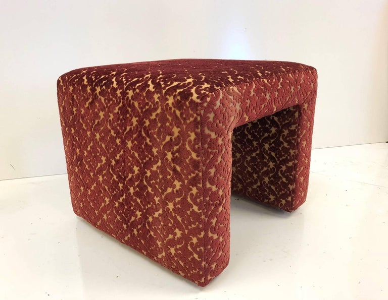 Mid-20th Century Set of Four Benches Upholstered in Vintage Quilted Velour Fabric For Sale