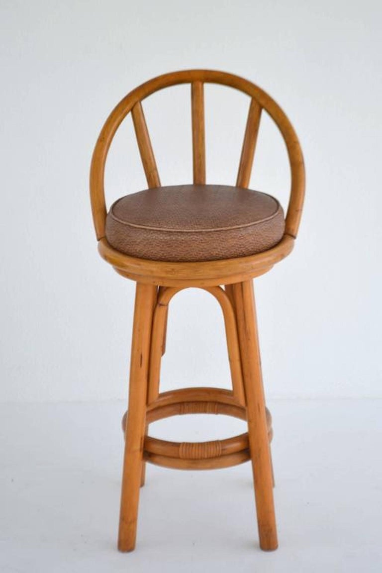 Set Of Four Bent Bamboo Bar Stools For Sale At 1stdibs
