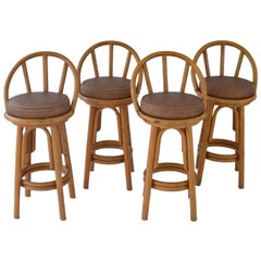 Set of Four Bent Bamboo Bar Stools