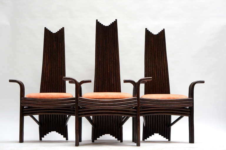 Mid-Century Modern Set of Four Bentwood High Chairs For Sale