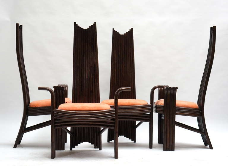 Wood Set of Four Bentwood High Chairs For Sale