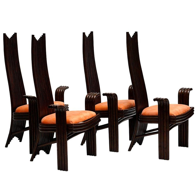 Set of Four Bentwood High Chairs For Sale