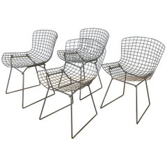 Set of Four Bertoia for Knoll Grey 420C Side Chairs, Early 1980s