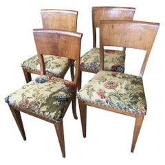 Set of Four Biedermeier Birch Dining Side Chairs with Tapestry Upholstery