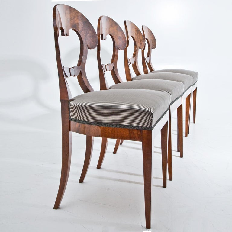 Early 19th Century Set of Four Biedermeier Chairs, 1820s For Sale