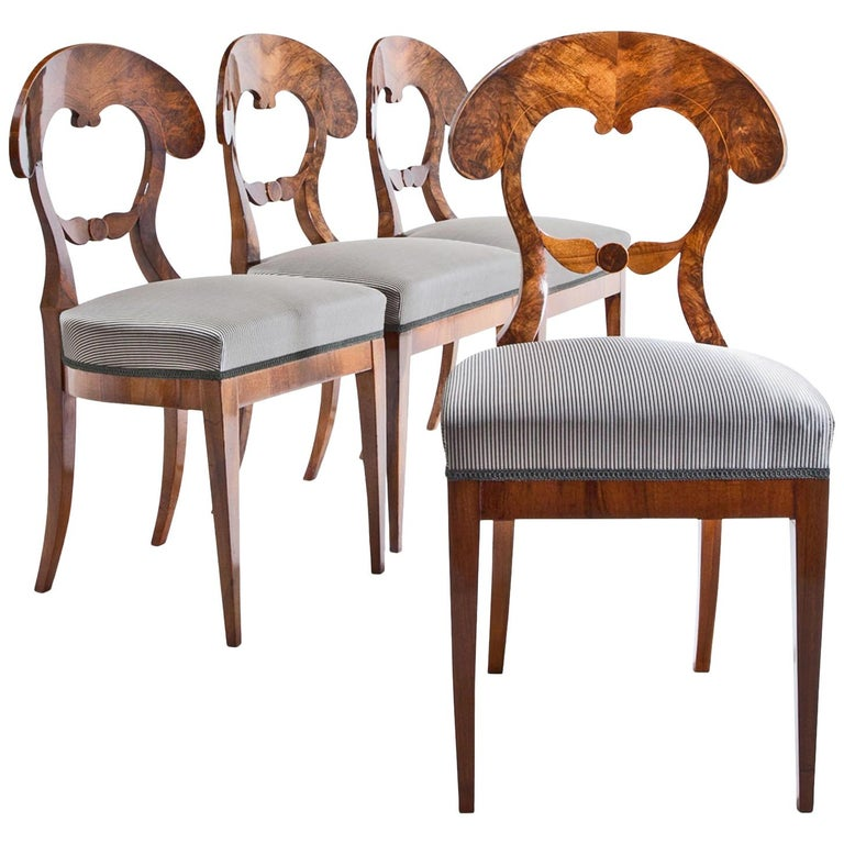 Set of Four Biedermeier Chairs, 1820s For Sale