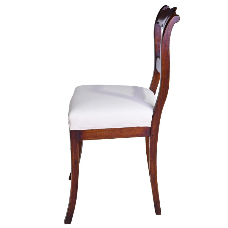 Hand-Carved Set of Four Biedermeier Dining Chairs in Mahogany, Lower Saxony, Germany For Sale