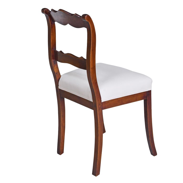 Upholstery Set of Four Biedermeier Dining Chairs in Mahogany, Lower Saxony, Germany For Sale