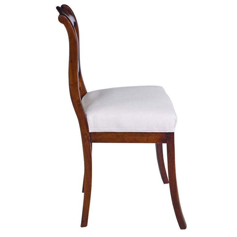 Set of Four Biedermeier Dining Chairs in Mahogany, Lower Saxony, Germany For Sale 1