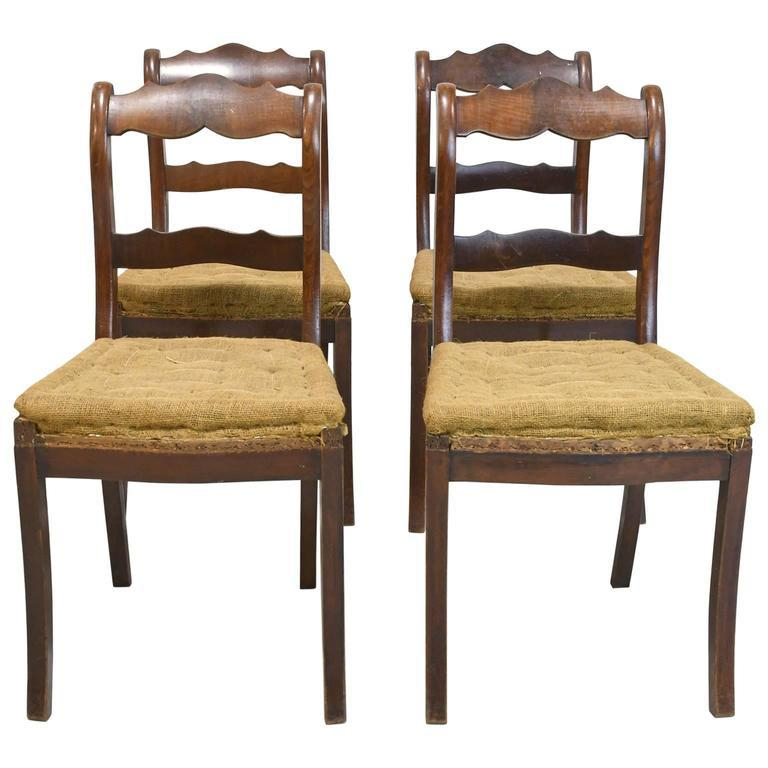 Set of Four Biedermeier Dining Chairs in Mahogany, Lower Saxony, Germany For Sale 8