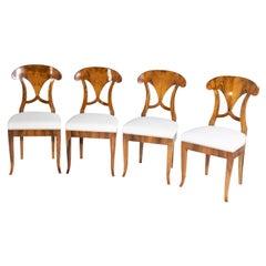 Set of Four Biedermeier Shovel Chairs, Walnut, Southern Germany, circa 1820
