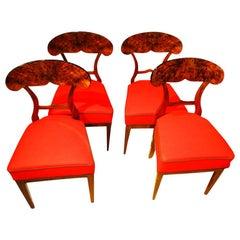 Vierer Set Biedermeier Stühle aus Walnussholz, Wien/Österreich, Circa 1845