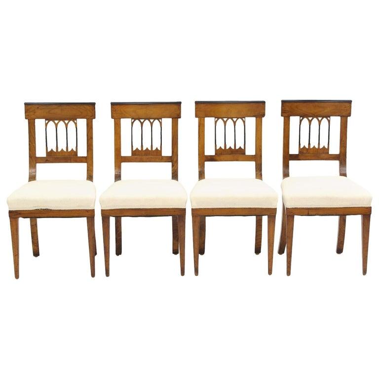 Set of Four Biedermeier Side Chairs, circa 1810-1820 For Sale