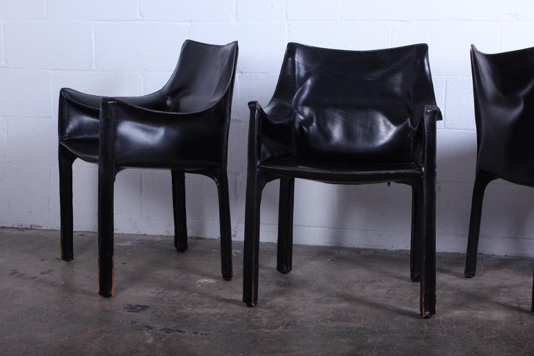 Set of Four Black Cab Armchairs by Mario Bellini for Cassina In Good Condition For Sale In Dallas, TX