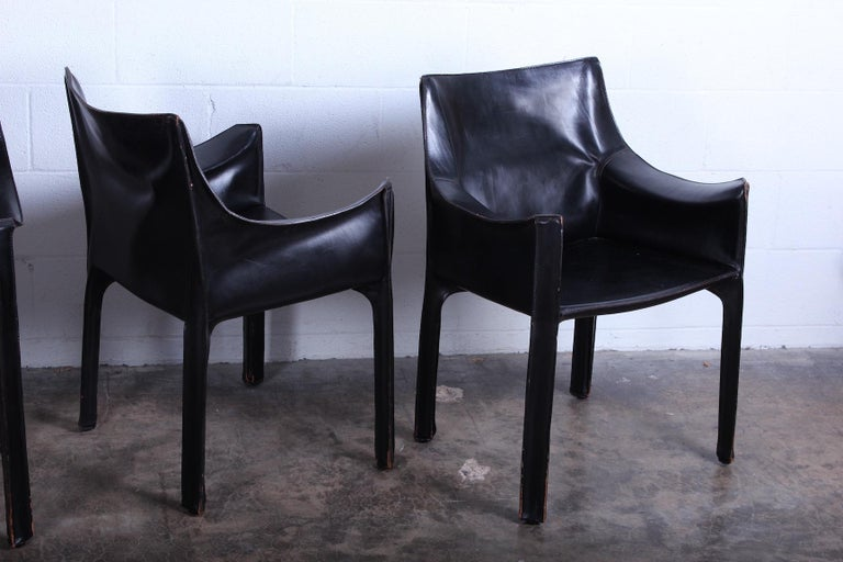 Late 20th Century Set of Four Black Cab Armchairs by Mario Bellini for Cassina For Sale
