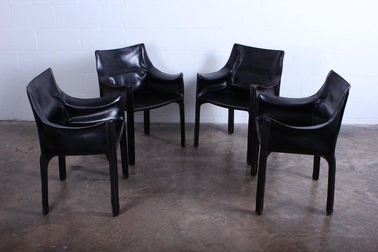 Leather Set of Four Black Cab Armchairs by Mario Bellini for Cassina For Sale