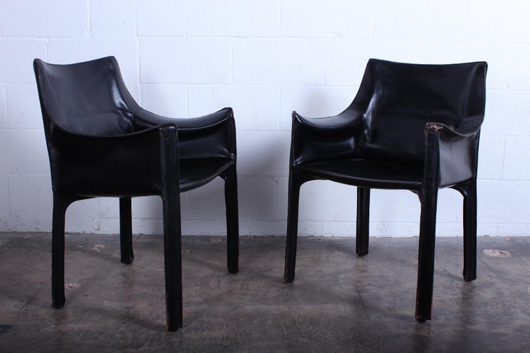 Set of Four Black Cab Armchairs by Mario Bellini for Cassina For Sale 2