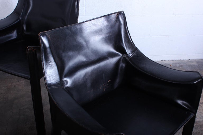Set of Four Black Cab Armchairs by Mario Bellini for Cassina For Sale 4