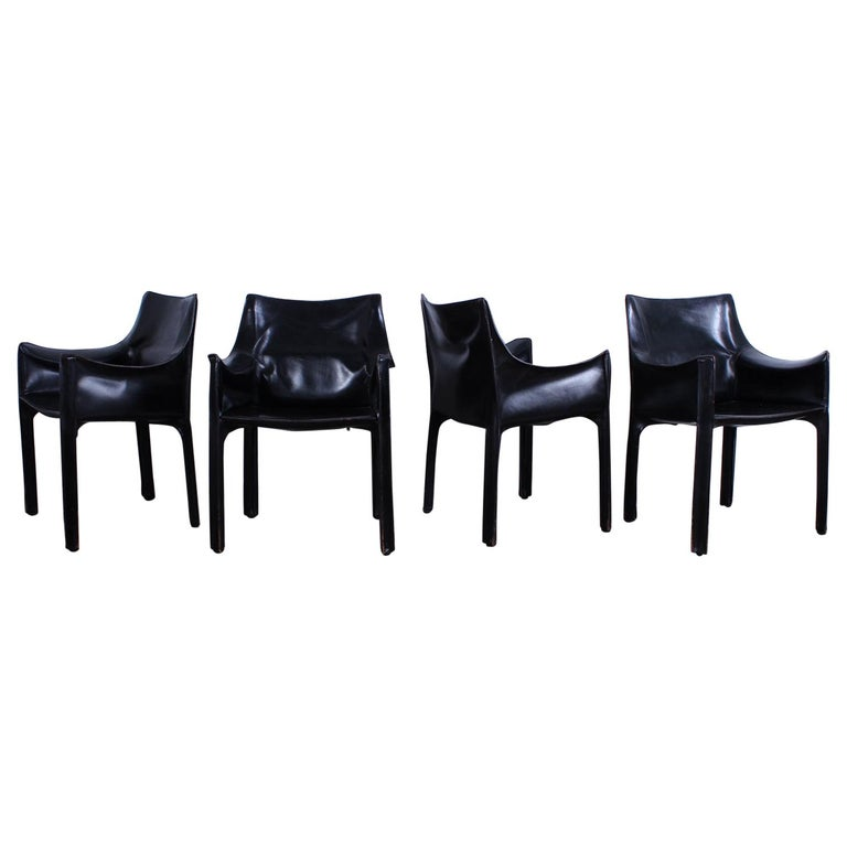 Set of Four Black Cab Armchairs by Mario Bellini for Cassina For Sale