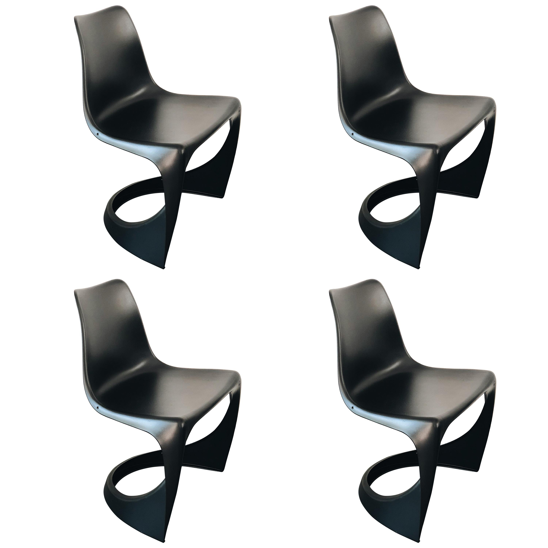 Set of Four Black Cado Chairs, Steen Østergaard, 1960s