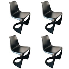 Set of Four Black Cado Chairs, Steen Østergaard, 1960s