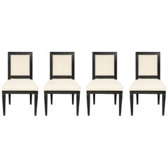 Set of Four Black Cerused Louis XVI Style Chairs